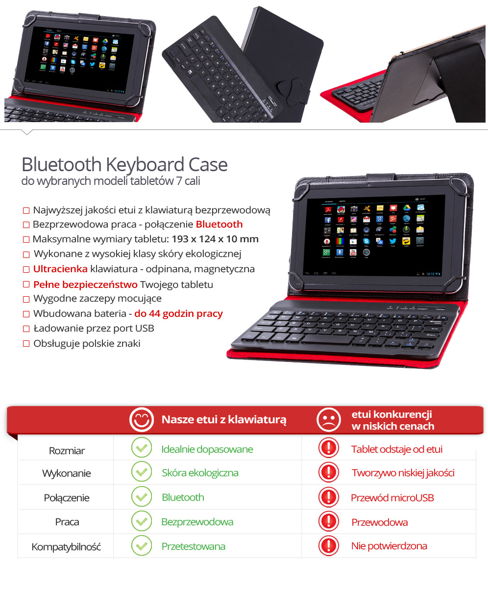 Etui z klawiaturą bluetooth do tabletu 7 cali