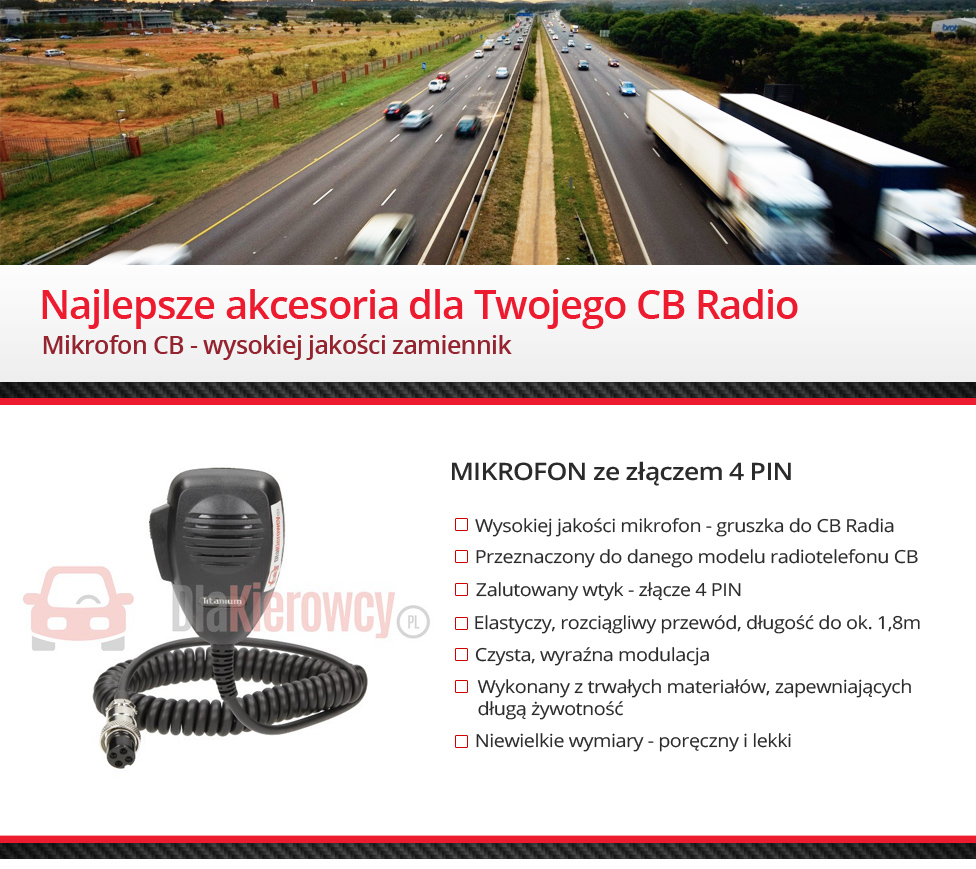 Mikrofon do CB Radio 4 PIN
