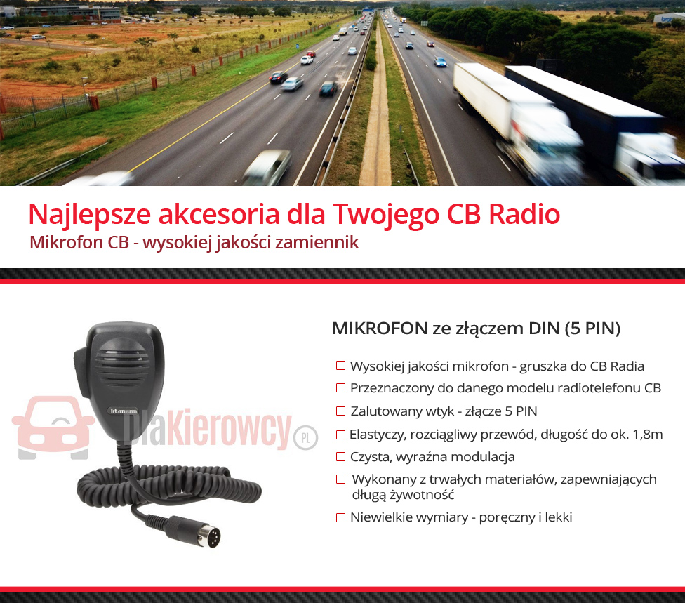 Mikrofon do CB Radio 5 PIN DIN